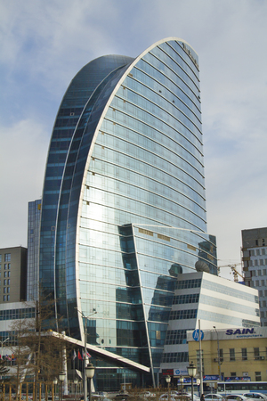 five star: ULAANBAATAR, MONGOLIA - FEBRUARY 1: The building is a five star hotel with a glass facade on February 1, 2015 in Ulaanbaatar. Editorial