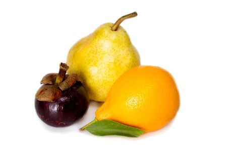 Ripe pear, mangosteen and Tashkent orange lemon photo