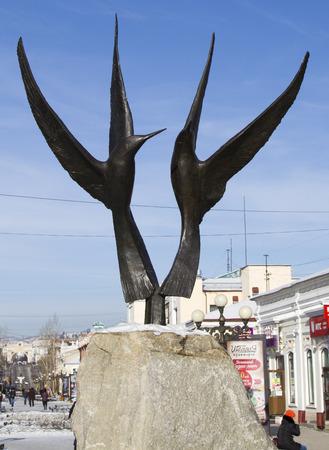 ulan ude: ULAN-UDE, RUSSIA - FEBRUARY 4: Sculpture two birds in the Buryat Arbat on Fevruary 4, 2015 in Ulan-Ude. Editorial
