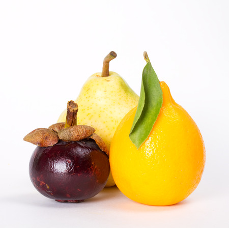 cumquat: Several different fruits on white background Stock Photo
