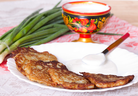 flapjacks: Potato flapjacks with sour cream and leek Stock Photo