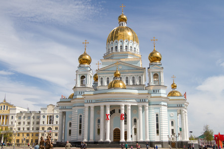the righteous: SARANSK, RUSSIA - MAY 9: Cathedral of Saint righteous warrior Feodor Ushakov on May 9, 2015 in Saransk.