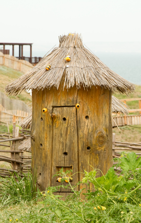 krasnodar region: TAMAN, RUSSIA - AUGUST 12: Bee hives in the beekeepers home territory in the ethnographic village Ataman on August 12, 2015 in Taman.