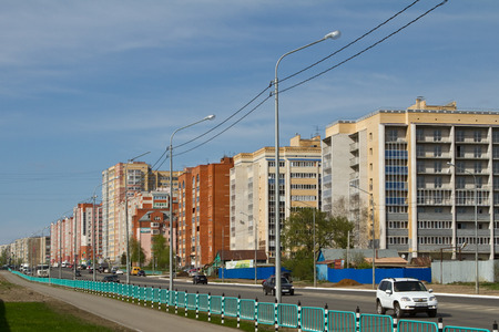 avenues: SARANSK, RUSSIA - MAY 9: New areas of the city with wide avenues and modern residential quarters on May 9, 2015 in Saransk.