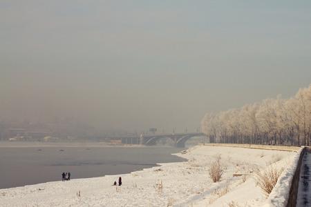 insipid: Quay of the Angara River in Irkutsk frosty day