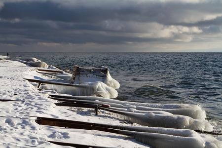 insipid: Ice on the shore of Lake Baikal