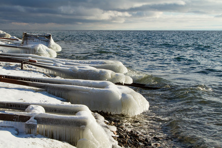 insipid: Ice on the shore of Lake Baikal
