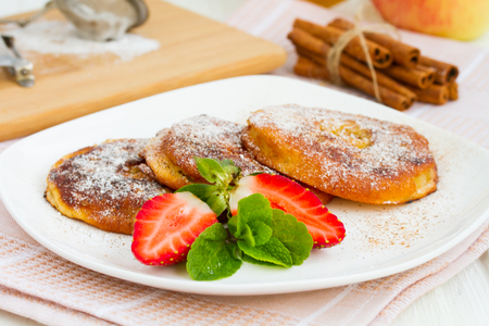 batter: Apple rings dipped in batter with cinnamon and powdered sugar