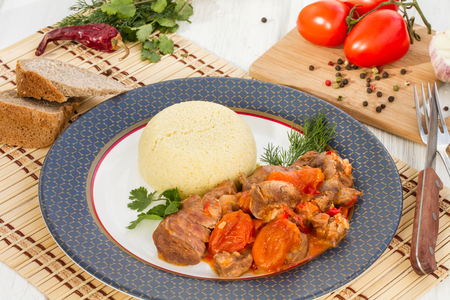 dried vegetables: Lunch Time - Lamb stew in Arabic with vegetables and dried apricots. Foto de archivo