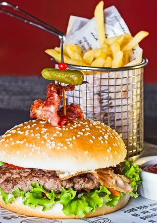 appetizing: Appetizing hamburger and fried potatoes