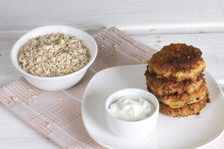 Fritters from oat flakes Stock Photo