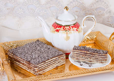 Cake of several layers with chocolate filling Stock Photo
