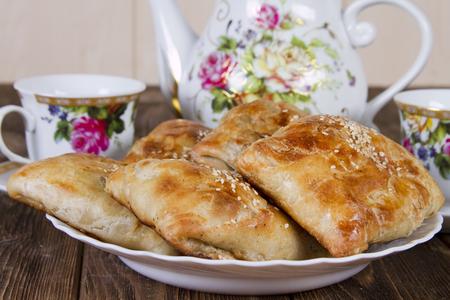 uzbek: Uzbek samsa homemade Stock Photo