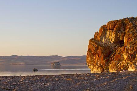 Early morning - sunrise on the shore of Lake Baikal, Kurminskiy cape