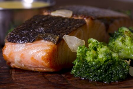 Grilled salmon steak with broccoli