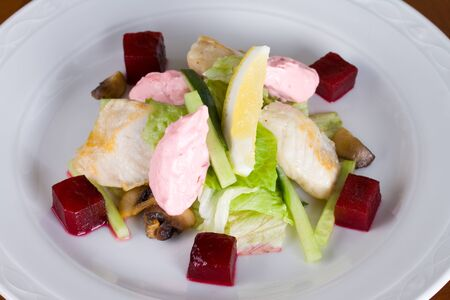 Roasted hake salad with slices of beets, mussels and sour cream sauce 版權商用圖片