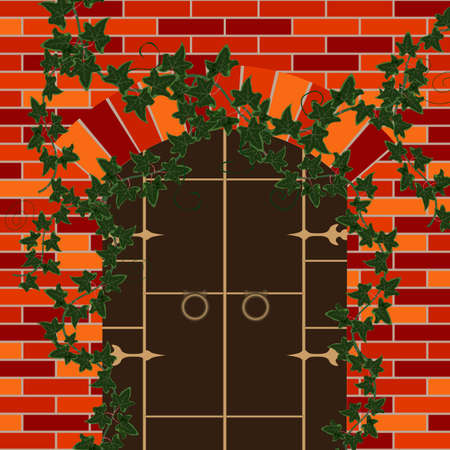 greens: door in a brick house with greens Illustration