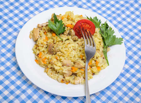 rice plate: Pilaf chicken with the addition of quinoa