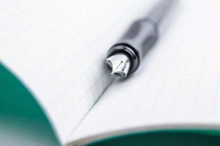 memorize: Fountain pen on notebook in a cage Stock Photo