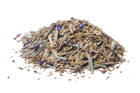facilitate: Paraguayan mate tea with addition of flowers monarda on a white background