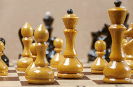 The chess pieces are placed on the chessboard. Placement during the game Stock Photo