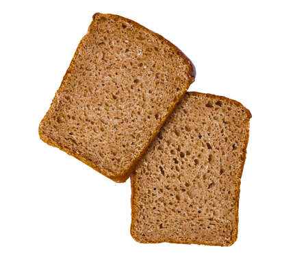 A hunk of black rye-wheat unleavened bread isolated on white background Stock Photo