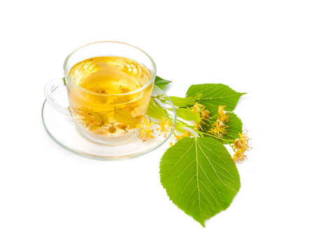tilo: Tea from Linden flowers in glass cup with flower clusters of lime about a cup isolated on white background