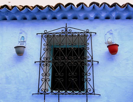 Colorful windows from Chefchaouen, Morocco