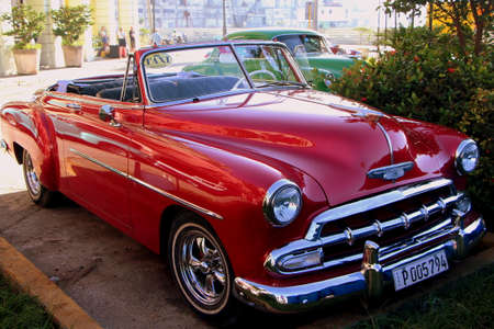 Havana, Cuba, July 17, 2017. Old american cars are an open air museum on city streets. Editorial