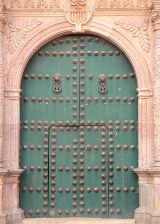 Old door of La Merced church in Potosí city.
