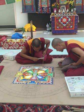 est: Buddhist monks mandala of peace-building in national museum of Reggio Calabria