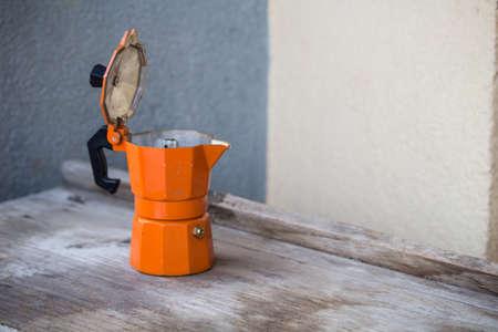 coffee pot, orange coffee machine Stock Photo