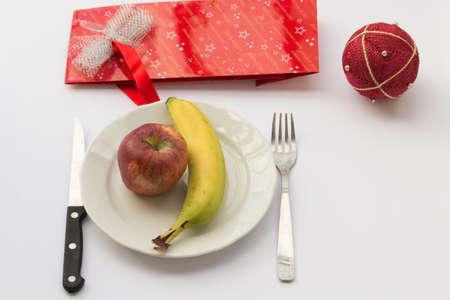 crisis economica: crisis econ�mica, nuestra dieta navidad Foto de archivo