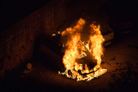 fire on car
