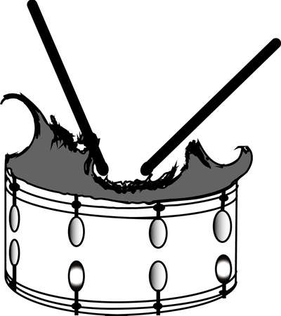snare: Broken snare drum Illustration