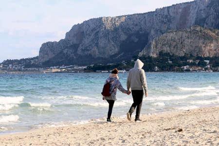 couple on the beach, sicily Stock Photo