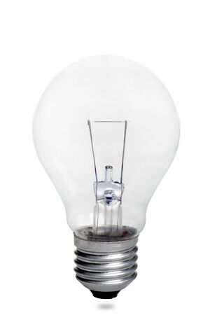 small light bulb on a white background with shadow on the bottom