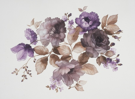 painting nature: Color illustration of flowers in watercolor paintings