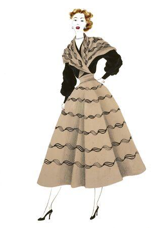 dress sketch: vintage figurin fashion on white background