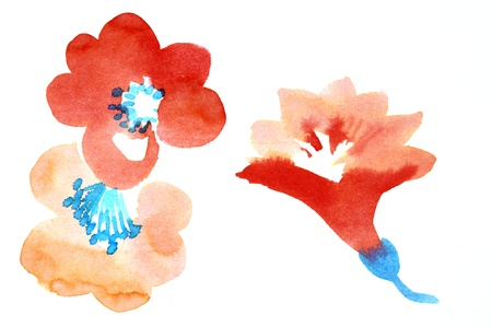 Color illustration of flowers in watercolor paintings Stock Illustration - 12846678