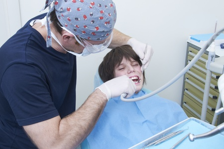 boy during a dental visit. doctors clinic photo