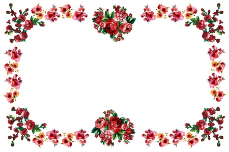 flower border pink: flowers frame in white background isolated