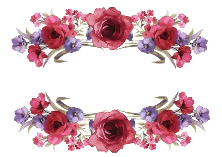 floral border: flowers frame in white background isolated