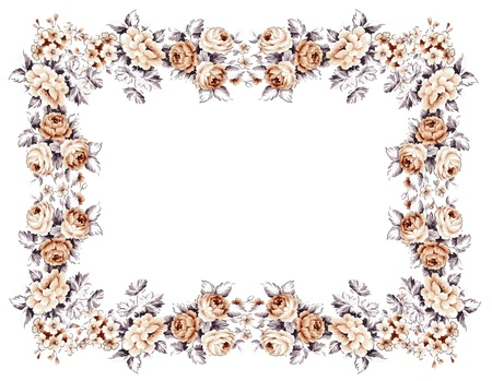 floral border frame: flowers frame in white background isolated