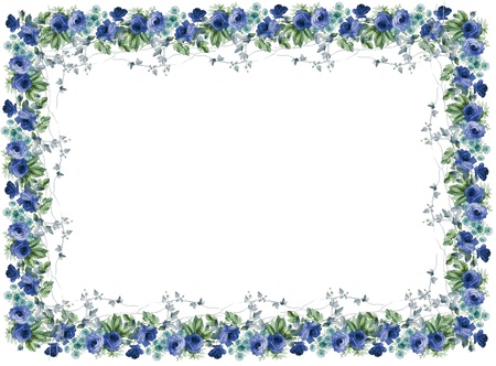 tropical border: flowers frame in white background isolated