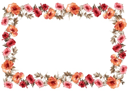 flower borders: flowers frame in white background isolated