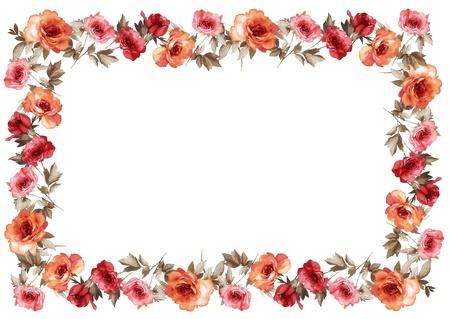 borde de flores: marco de las flores en el fondo blanco aislado Foto de archivo