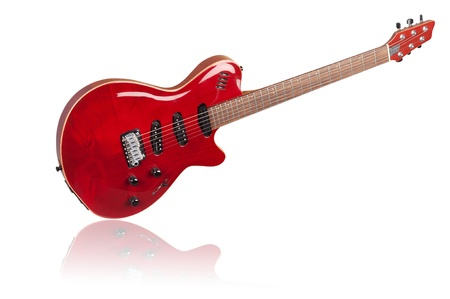 red electric guitar on white background photo
