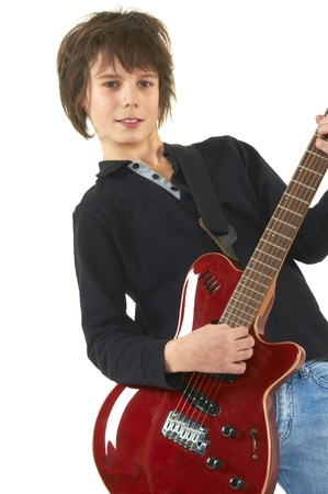 guy playing guitar on white background photo