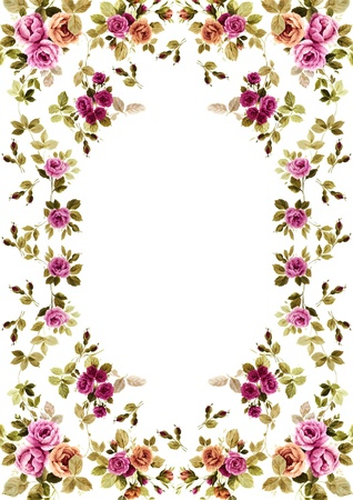 bouquet de fleur: cadre de fleurs sur fond blanc